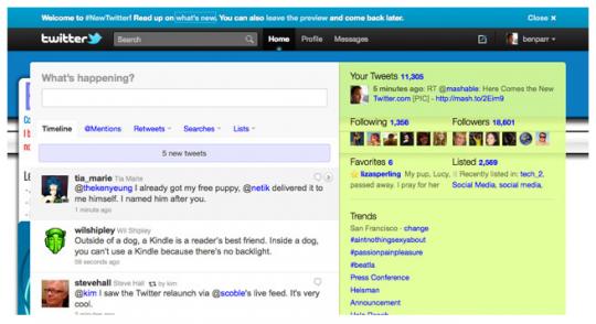 Новый интерфейс Твиттера