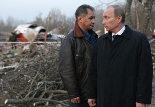 Путин и Шойгу на месте падения самолёта Качинского